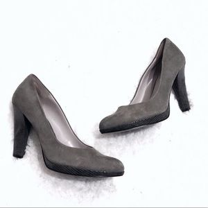 Nine West gray suede leather heels pumps size 8
